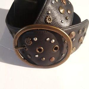 Fossil Leather Embellished Waist Belt